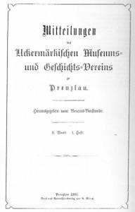 Vorstand Uckermärkischer Museums- und Geschichts- Verein, Mitteilungen des Uckermärkischen Museums- und Geschichts- Vereins zu Prenzlau. Band 2, 1903–1904