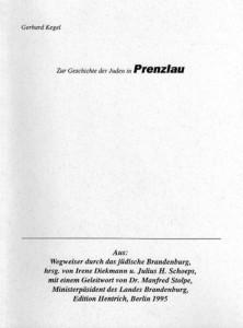 Gerhard Kegel, Zur Geschichte der Juden in Prenzlau. (1995)