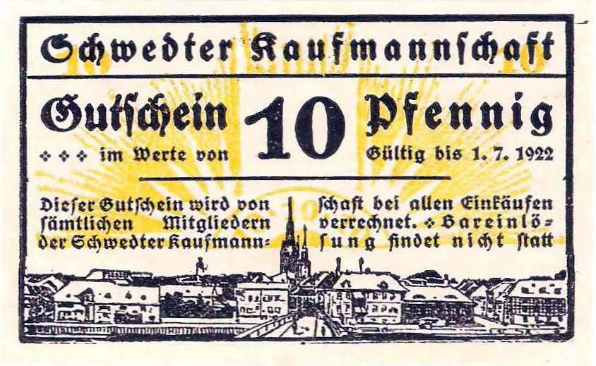 10 Pfennig der Schwedter Kaufmannschaft (aus: Th. Krause, Das Schwedter Notgeld. Mitt. Uckermärk. Geschver. 21, 2015, 93)
