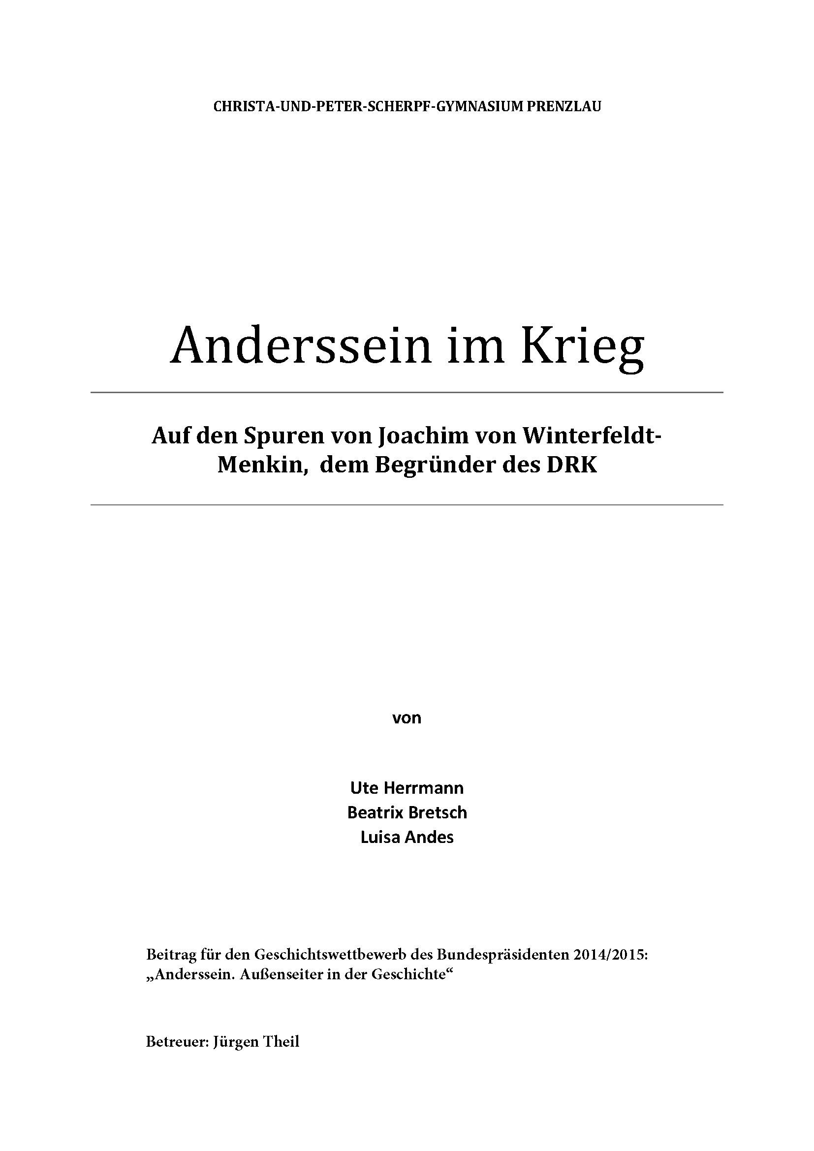 Herrmann / Bretsch / Andes: Auf den Spuren von Joachim von Winterfeldt-Menkin, dem Begründer des DRK