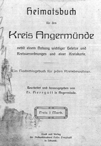 Heimatjahrbuch für den Kreis Angermünde.( 1907?)