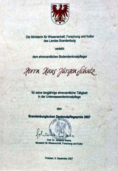 Urkunde des Brandenburgischen Denkmalpreises 2007.