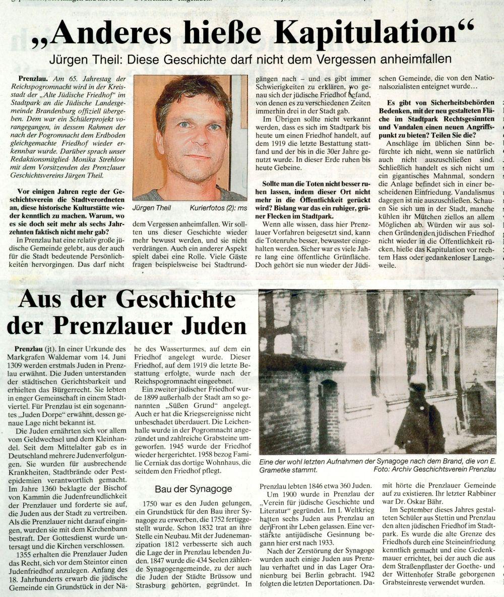 Zeitungsartikel aus der Prenzlauer Zeitung vom 7.11.2003