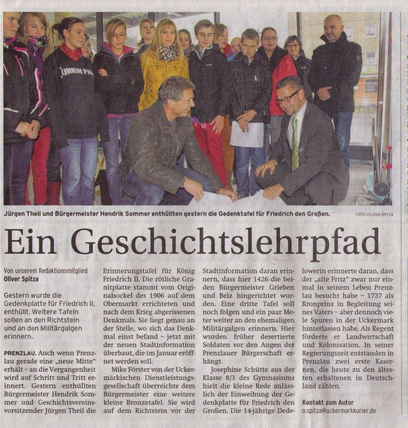 Zeitungsartikel in der Prenzlauer Zeitung vom 08.11.2012