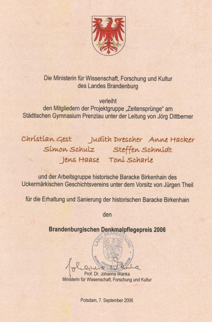 _Urkund_Denkmalpreis Birkenhain