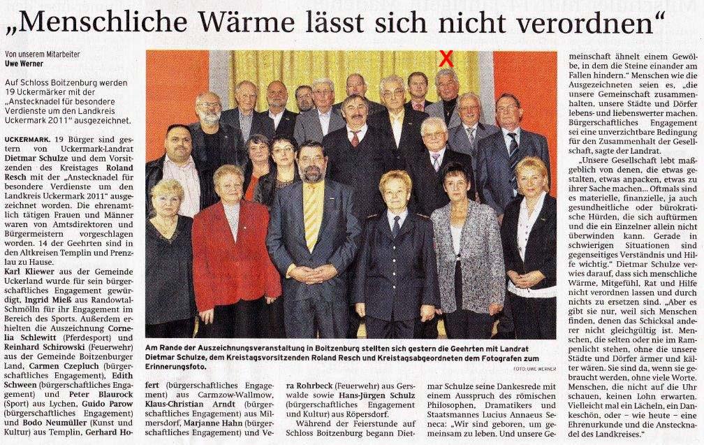 Artikel der Prenzlauer Zeitung vom 03./04.12.2011 (X - Hans-Jürgen Schulz)