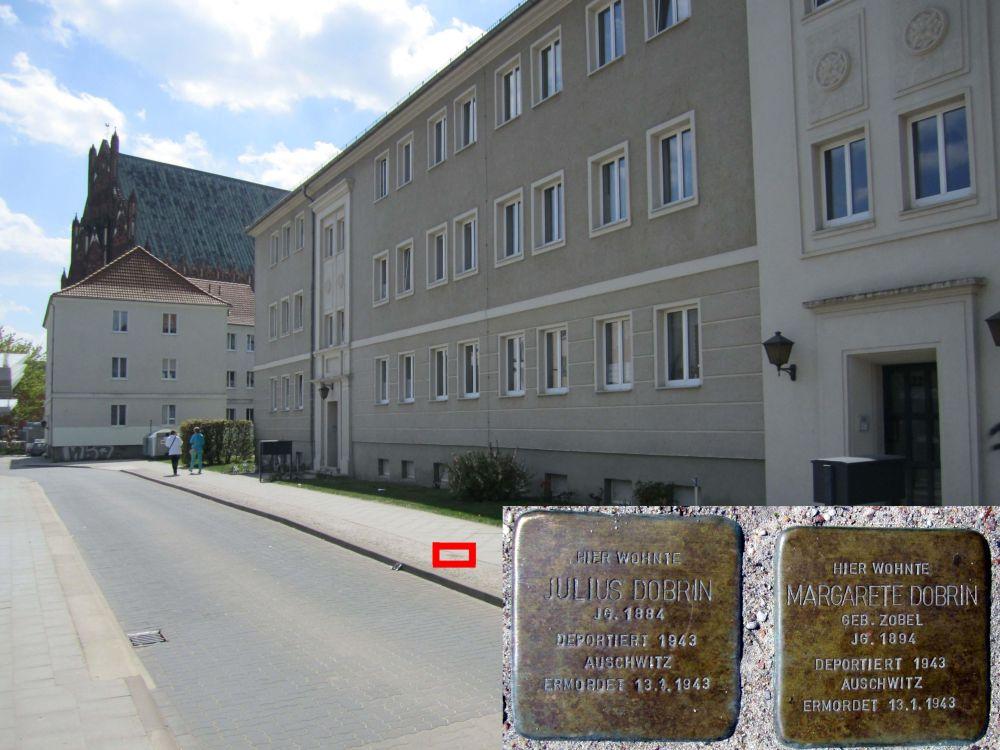 5. Stolpersteine für Margarete und Julius Dobrin in der Straße des Friedens, am kleinen Busbahnhof. (Foto: Dr. M. Schulz, 2013)