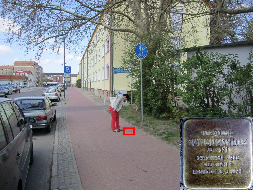 6. Stolperstein für Nathan Mamlock in der Steinstraße, gegenüber von Woolworth. (Foto: Dr. M. Schulz, 2013)