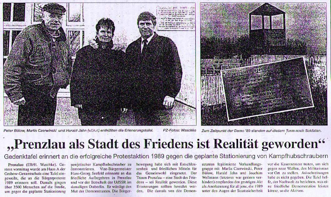 Zeitungsartikel zur Einweihung der Gedenktafel an die Bürgerproteste gegen die Stationierung von sowjetischen Kampfhubschraubern in Prenzlau (21.11.1997).