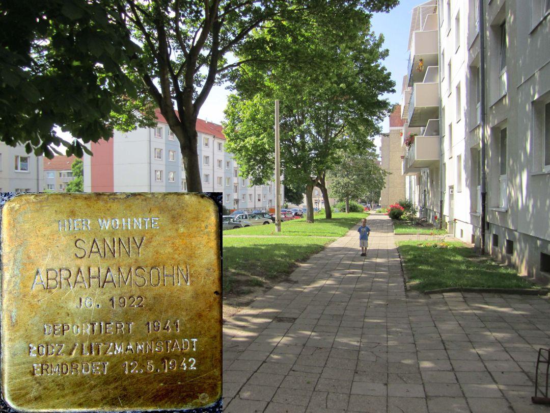13. Stolperstein für Sanny Abrahamsohn, Ostseite Geschwister-Scholl-Straße auf Höhe der Hausnummern 41 / 43. (Foto: Dr. M. Schulz, 25.07.2015)