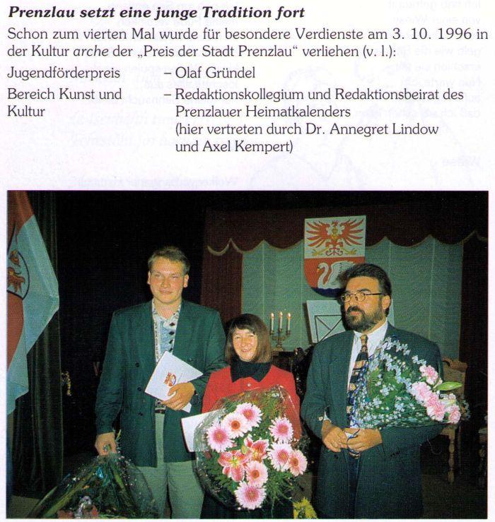Die Träger des Preises der Stadt Prenzlau 1996.