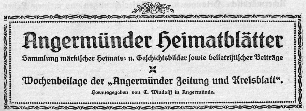 Angermünder Heimatblätter 1922.