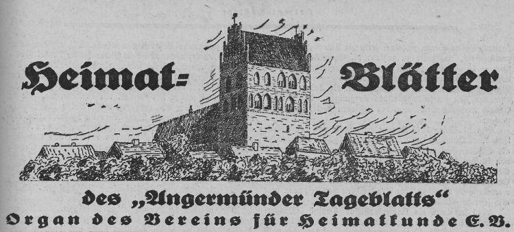 Heimatblätter Angermünde 1939