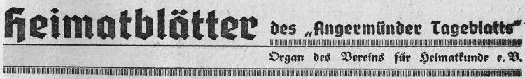 Angermünder Heimatblätter 1940 (März bis Sommer)