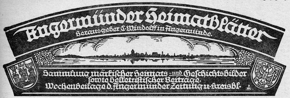 Angermünder Heimatblätter 1925. (Januar bis März)