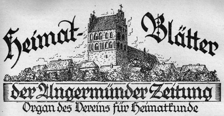 Angermünder Heimatblätter 1926.