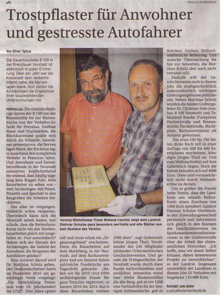 Artikel in der Prenzlauer Zeitung vom 13.08.2012