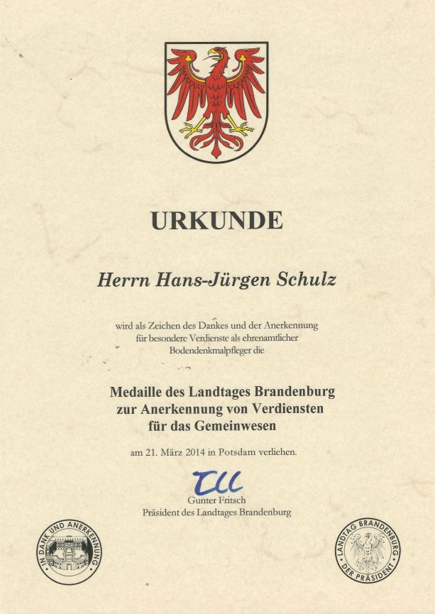 Urkunde zur Medaille des Landtages Brandenburg zur Anerkennung von Verdiensten für das Gemeinwesen