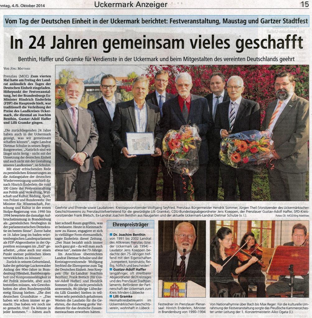 Märkische Oder Zeitung vom 04./05.10.2014
