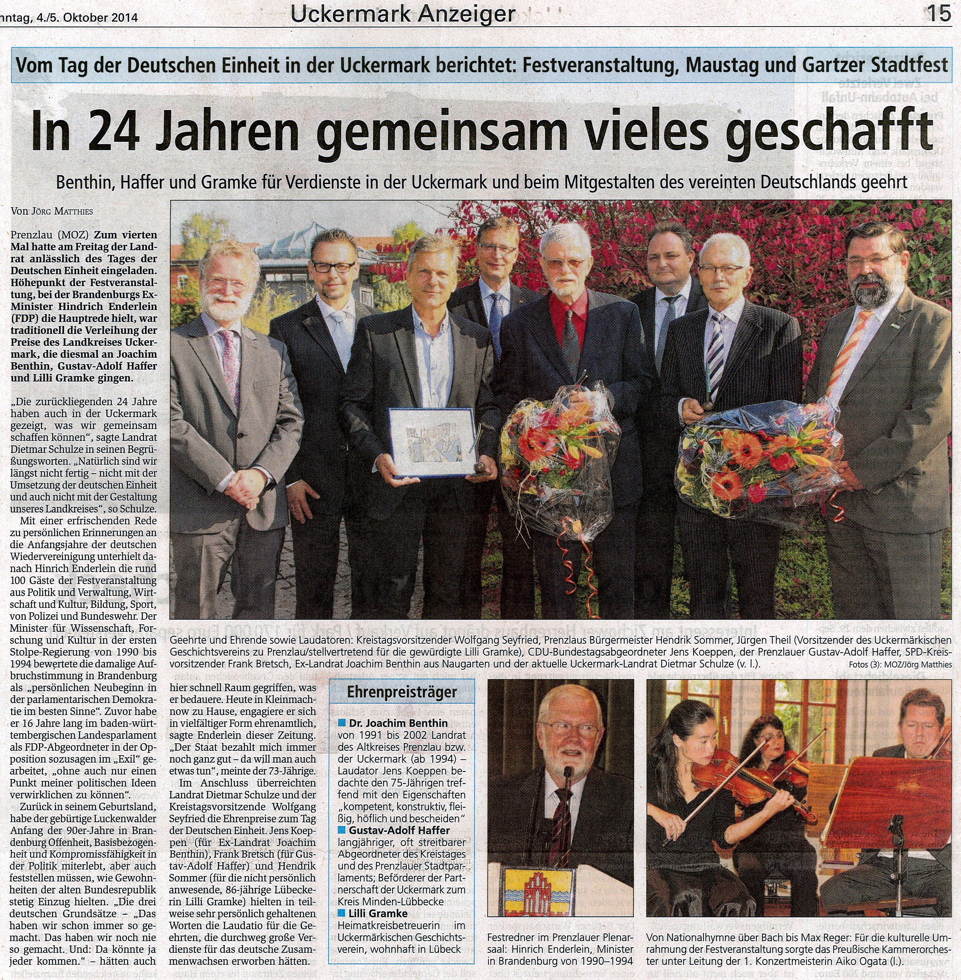 Artikel aus: Rodinger, Stadtanzeiger für Prenzlau und Ortsteile (vom 10.10.2014)
