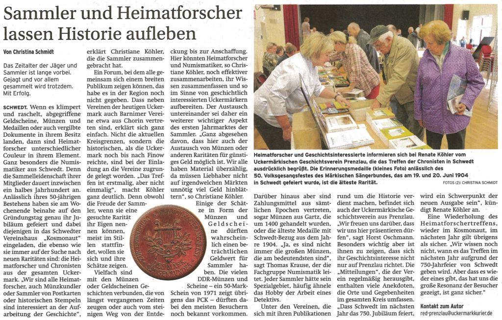 Artikel aus der Prenzlauer Zeitung vom 14.10.2014