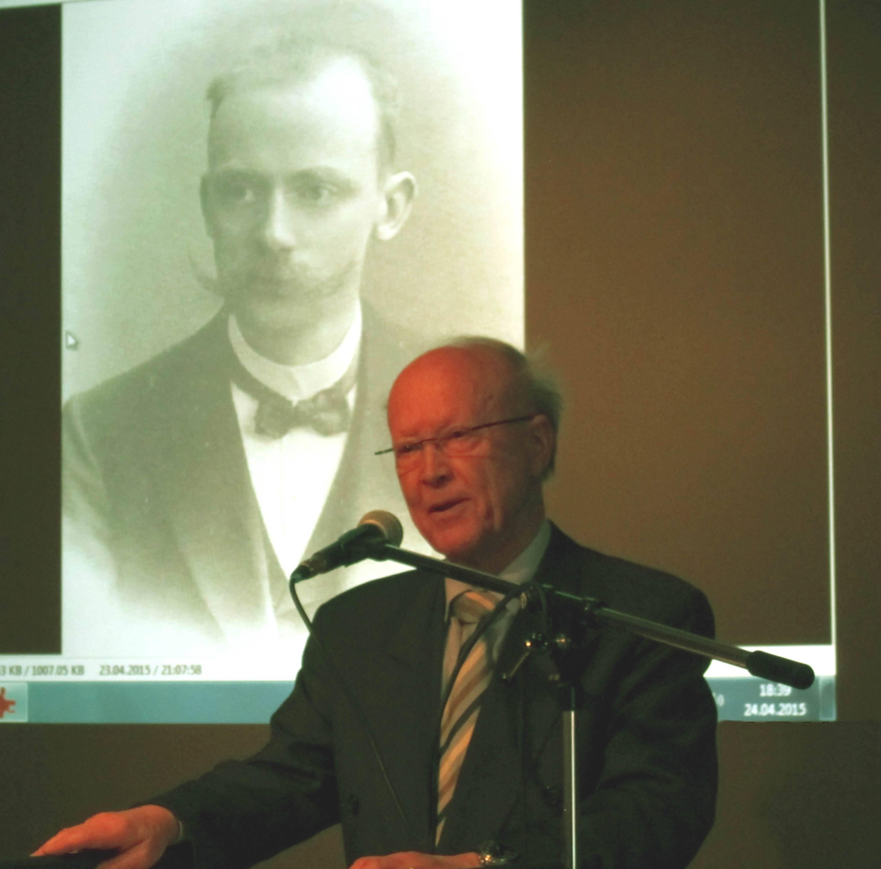 Prof. Klaus Goebel bei seiner Rede über Heinrich Wolfgang Seidel und Boitzenburg. (Foto: Dr. M. Schulz)