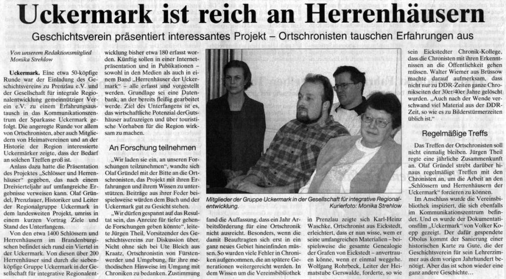 Artikel in der Prenzlauer Zeitung vom 18.02.2003