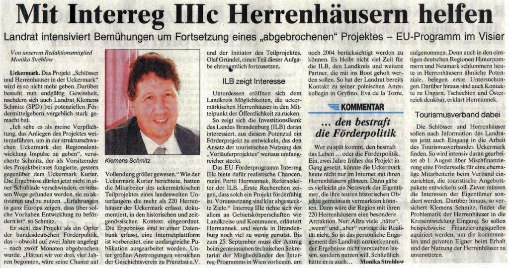 Artikel in der Prenzlauer Zeitung vom 19./20.07.2003