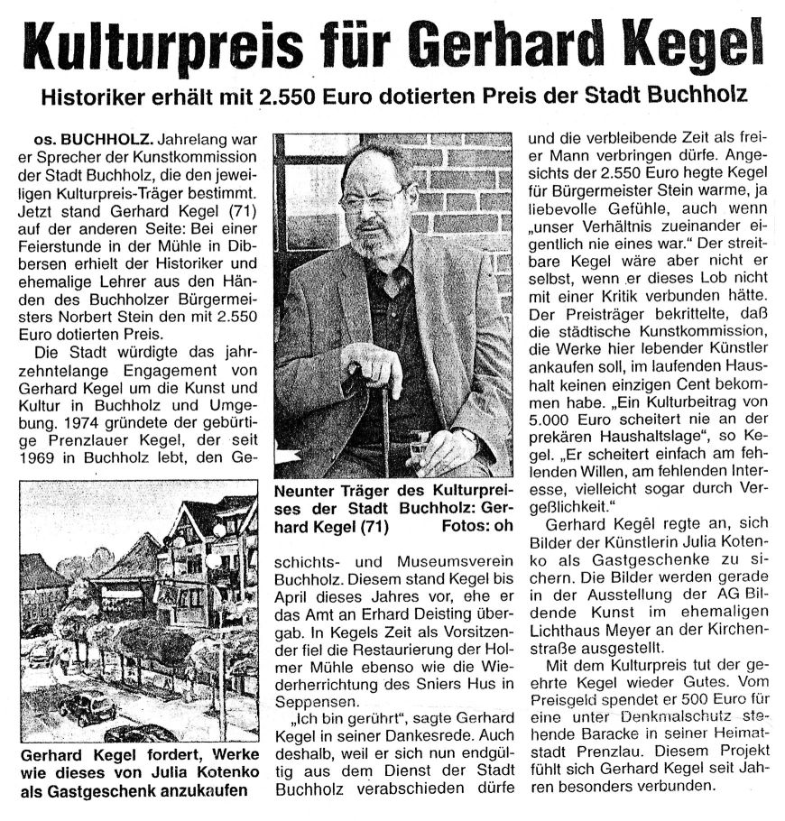 """Artikel aus: Kreiszeitung """"Wochenblatt"""" vom 29.09.2005"""