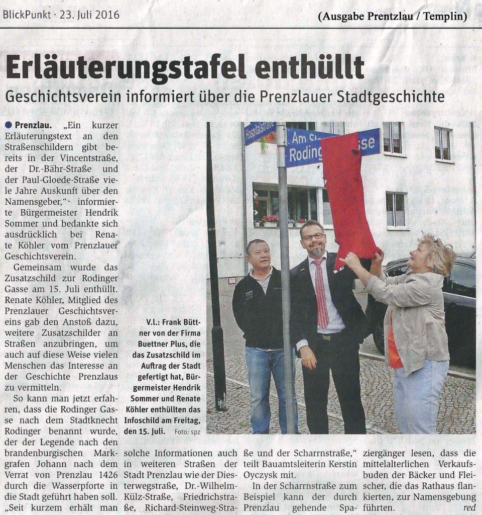 BlickPunkt, Beilage der Prenzlauer Zeitung vom 23.07.2016